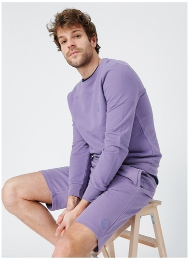 Aeropostale Aeropostale Erkek Mor Sıfır Yaka Pamuklu Sweatshirt Mor